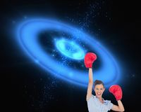 Businesswoman cheering wearing boxing gloves Stock Images