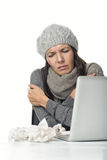 Businesswoman with chills and a fever Royalty Free Stock Photo