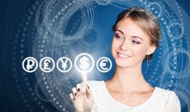 Businesswoman choose to USA dollar currency on high tech background royalty free stock photo