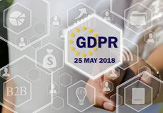 The businesswoman chooses the GDPR on the touch screen .General Data Protection Regulation concept may 25, 2018 Royalty Free Stock Photography