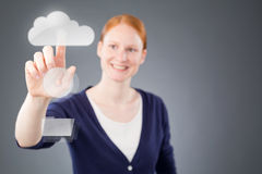 Businesswoman Choosing Cloud Storage Royalty Free Stock Photo