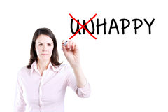 Businesswoman choosing Happy instead of Unhappy. Stock Photo