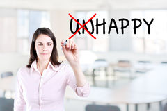 Businesswoman choosing Happy instead of Unhappy. Office background. Stock Images