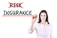 Businesswoman choosing Insurance instead of Risk. Stock Images