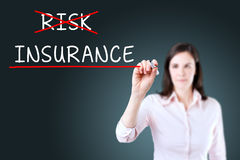 Businesswoman choosing Insurance instead of Risk. Blue background. Stock Image