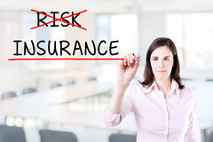 Businesswoman choosing Insurance instead of Risk. Office background. Royalty Free Stock Photo