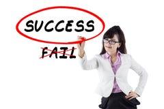 Businesswoman choosing to success Royalty Free Stock Photos