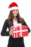 Businesswoman with christmas gift Stock Photos