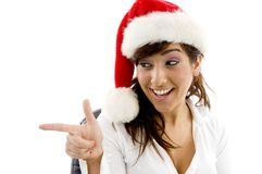 Businesswoman in christmas hat Royalty Free Stock Image