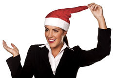 Businesswoman at a Christmas party. Stock Photography