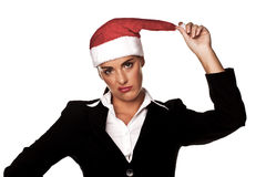 Businesswoman at a Christmas party. Stock Images