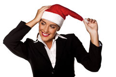 Businesswoman at a Christmas party. Royalty Free Stock Photography