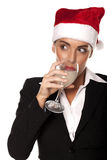 Businesswoman at a Christmas party. Royalty Free Stock Image