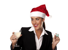 Businesswoman at a Christmas party. Royalty Free Stock Photos