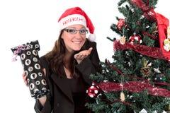 Businesswoman Christmas tree Royalty Free Stock Image