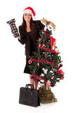 Businesswoman Christmas tree Stock Images