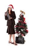 Businesswoman Christmas tree Royalty Free Stock Image