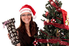Businesswoman Christmas tree Royalty Free Stock Photography