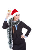 Businesswoman with class champagnes Stock Image