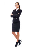 Businesswoman in classic black suite Royalty Free Stock Photos