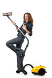 Businesswoman cleaning with  cleaner Royalty Free Stock Image