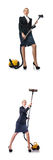 The businesswoman cleaning with vacuum cleaner on white Stock Photos