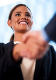 Businesswoman and client handshaking Stock Images