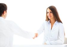 Businesswoman and client handshaking Royalty Free Stock Image