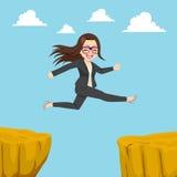 Businesswoman Cliff Gap Stock Image