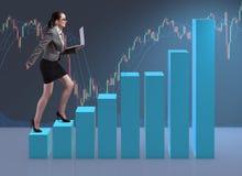 The businesswoman climbing career ladder as trader broker Royalty Free Stock Photos