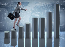The businesswoman climbing career ladder as trader broker Stock Images