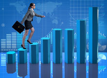 The businesswoman climbing career ladder as trader broker Royalty Free Stock Photo