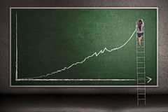 Businesswoman climbing ladder draw profit chart. Businesswoman is climbing ladder while drawing profit chart on the blackboard Stock Images