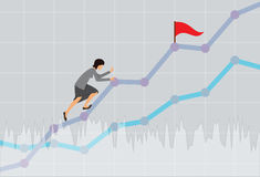 Businesswoman climbing up the rising financial chart. Business concept illustration. Vector. Royalty Free Stock Photo