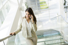 Businesswoman climbs the stairs Royalty Free Stock Image