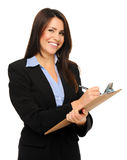 Businesswoman with clipboard Stock Images
