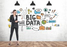 Businesswoman with clipboard, big data royalty free stock images