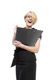 Businesswoman with clipboard isolated Stock Photography