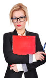 Businesswoman with clipboard Stock Photography