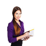 Businesswoman with clipboard Royalty Free Stock Images