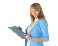 Businesswoman with clipboard. Royalty Free Stock Image
