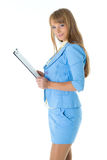 Businesswoman with clipboard. Stock Image