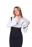 Businesswoman with clock Stock Photos
