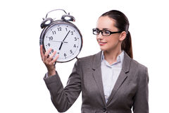 The businesswoman with clock in business concept Royalty Free Stock Image