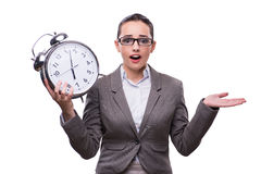 The businesswoman with clock in business concept Royalty Free Stock Photography