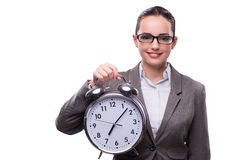 The businesswoman with clock in business concept Royalty Free Stock Photos