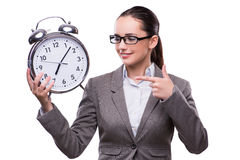 The businesswoman with clock in business concept Royalty Free Stock Photo