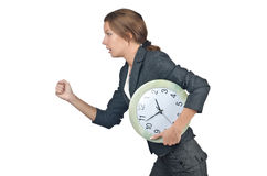 Businesswoman with clock isolated Stock Photography
