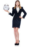 Businesswoman with clock Stock Photos