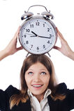 Businesswoman with clock Royalty Free Stock Image